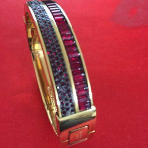 Michael Kors Gold-Tone Crystal Hinged Bangle Brace